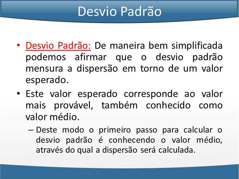 Desvio Padrão Desvio Padrão: De maneira bem simplificada podemos afirmar que o desvio padrão mensura a dispersão em torno de um valor esperado.