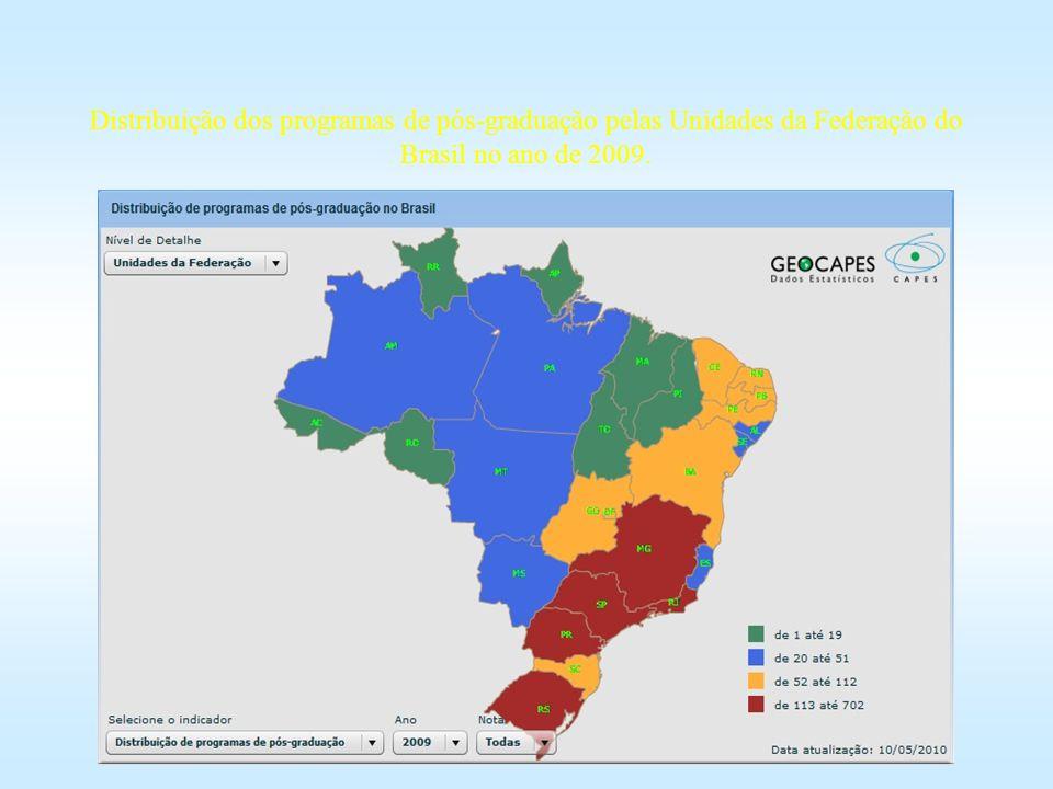 Distribuição dos programas de pós-graduação pelas Unidades da Federação do Brasil no ano de 2009.