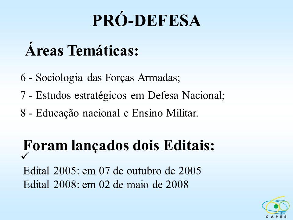 PRÓ-DEFESA Áreas Temáticas: Foram lançados dois Editais: