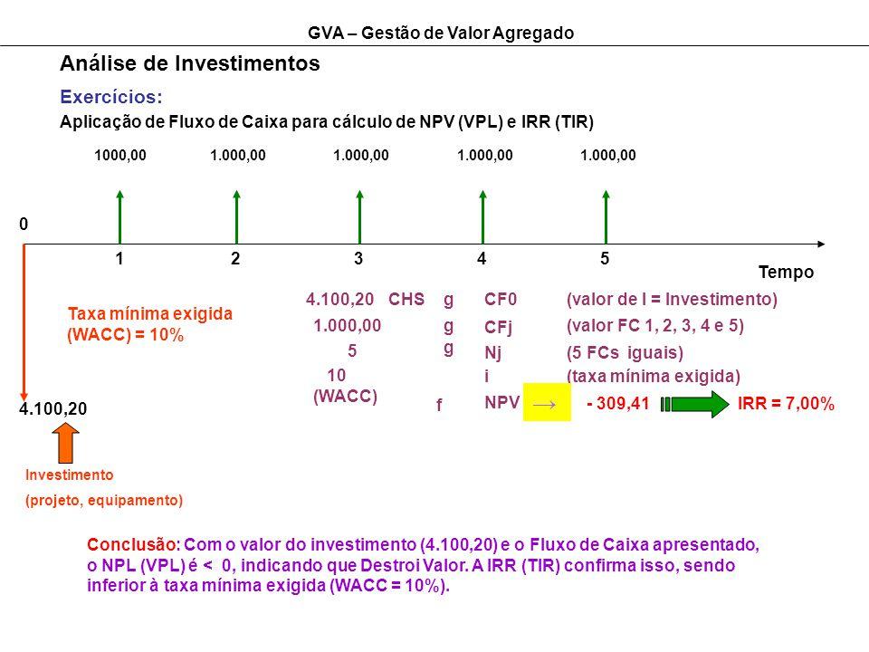 → Análise de Investimentos Exercícios: