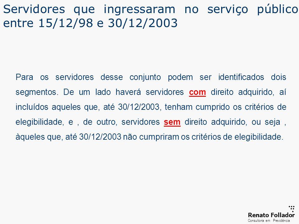 Servidores que ingressaram no serviço público entre 15/12/98 e 30/12/2003