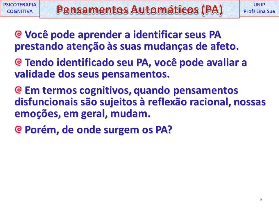 PSICOTERAPIA COGNITIVA Pensamentos Automáticos (PA)
