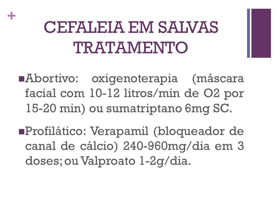 CEFALEIA EM SALVAS TRATAMENTO