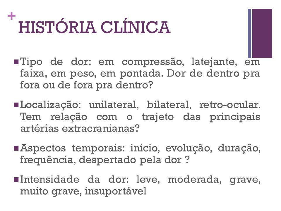 HISTÓRIA CLÍNICA Tipo de dor: em compressão, latejante, em faixa, em peso, em pontada. Dor de dentro pra fora ou de fora pra dentro