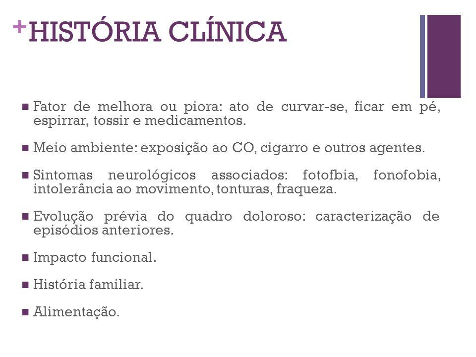 HISTÓRIA CLÍNICA Fator de melhora ou piora: ato de curvar-se, ficar em pé, espirrar, tossir e medicamentos.
