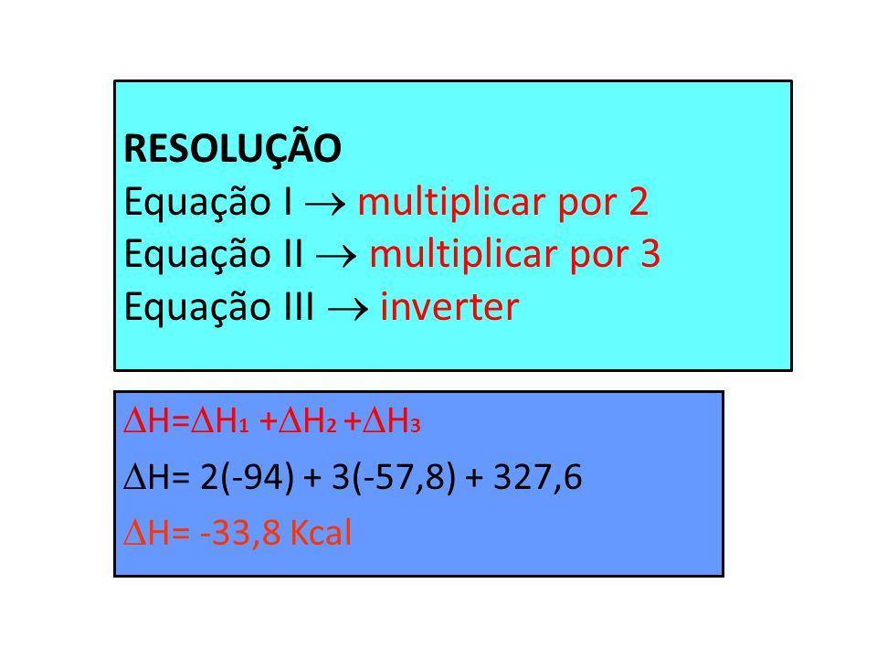 RESOLUÇÃO Equação I  multiplicar por 2 Equação II  multiplicar por 3 Equação III  inverter
