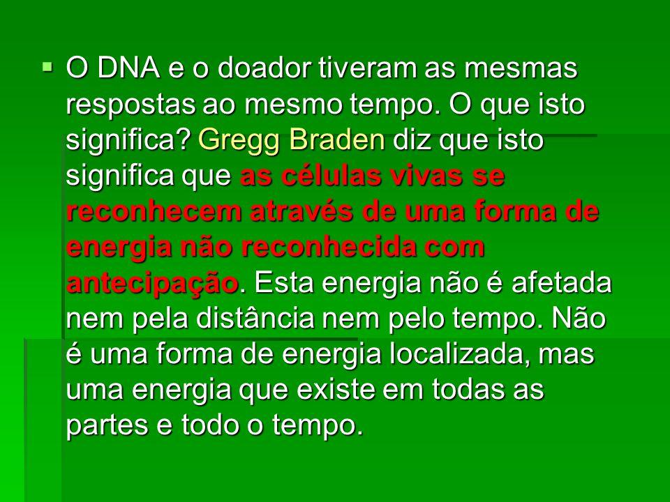 O DNA e o doador tiveram as mesmas respostas ao mesmo tempo