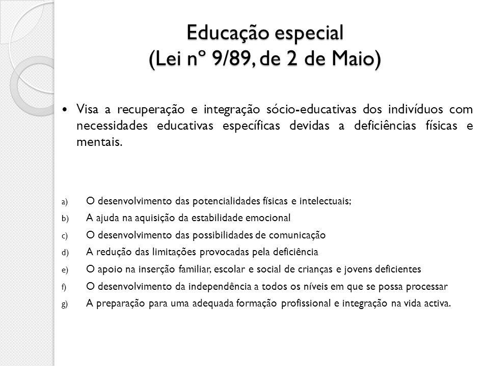 Educação especial (Lei nº 9/89, de 2 de Maio)