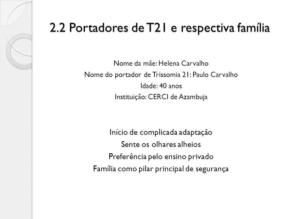 2.2 Portadores de T21 e respectiva família