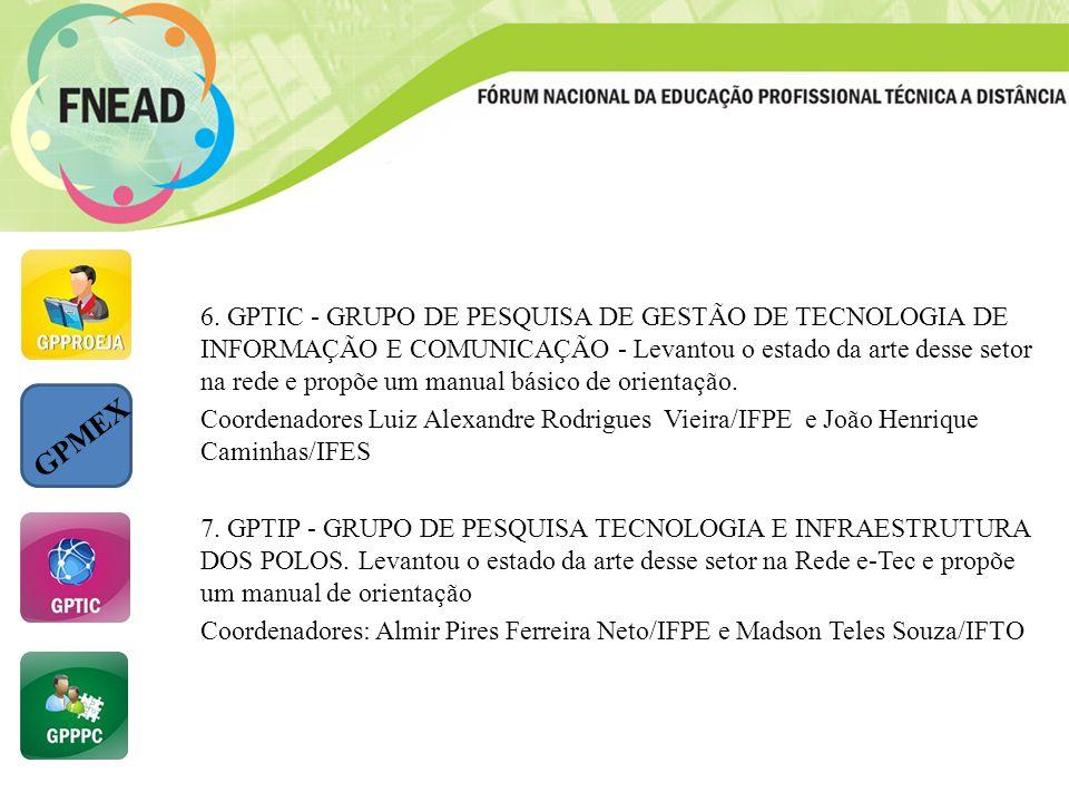 6. GPTIC - GRUPO DE PESQUISA DE GESTÃO DE TECNOLOGIA DE INFORMAÇÃO E COMUNICAÇÃO - Levantou o estado da arte desse setor na rede e propõe um manual básico de orientação.