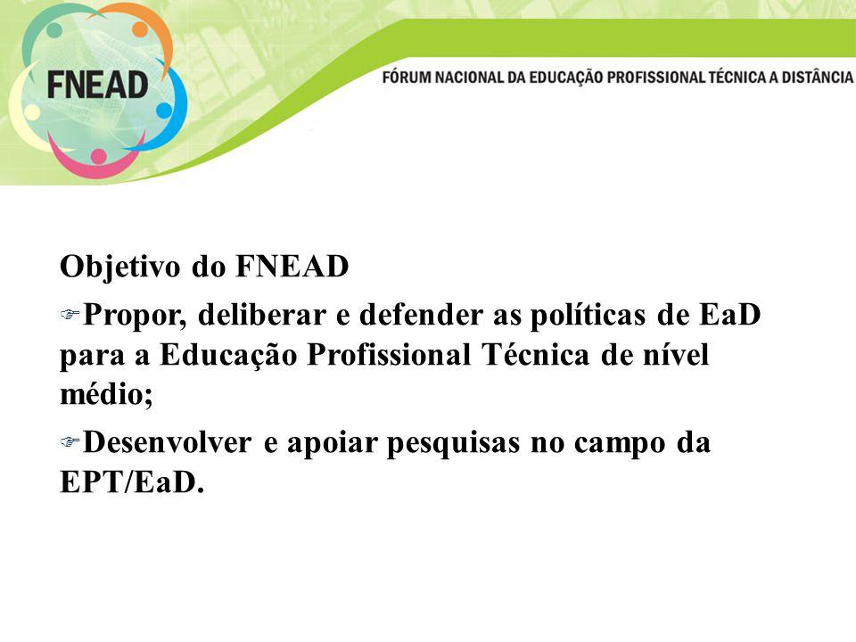 Objetivo do FNEAD Propor, deliberar e defender as políticas de EaD para a Educação Profissional Técnica de nível médio;