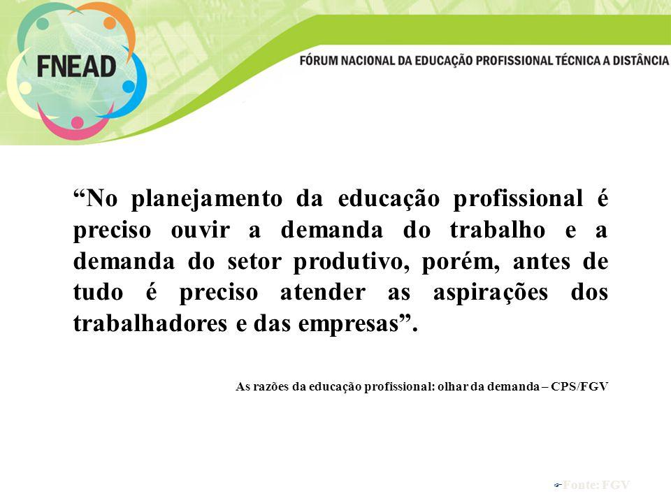 No planejamento da educação profissional é preciso ouvir a demanda do trabalho e a demanda do setor produtivo, porém, antes de tudo é preciso atender as aspirações dos trabalhadores e das empresas .