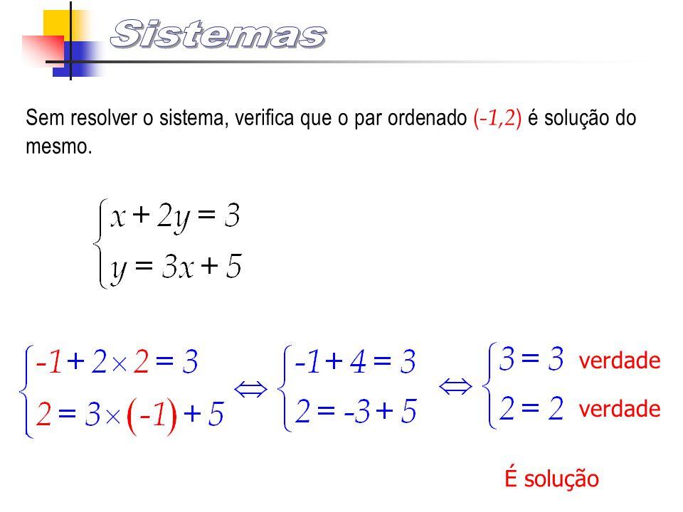 Sistemas Sem resolver o sistema, verifica que o par ordenado (-1,2) é solução do mesmo. verdade. verdade.