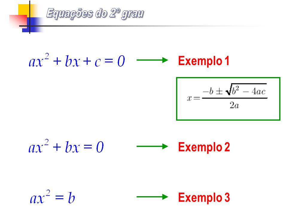 Equações do 2º grau Exemplo 1 Exemplo 2 Exemplo 3