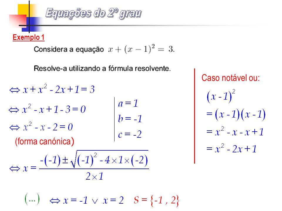 Equações do 2º grau Exemplo 1 Caso notável ou: (forma canónica)