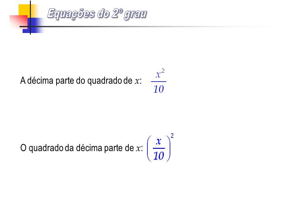 Equações do 2º grau A décima parte do quadrado de x: