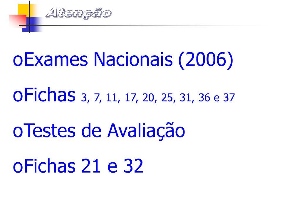 Exames Nacionais (2006) Fichas 3, 7, 11, 17, 20, 25, 31, 36 e 37