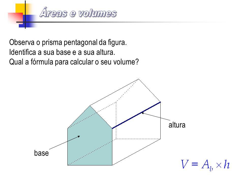 Áreas e volumes Observa o prisma pentagonal da figura.