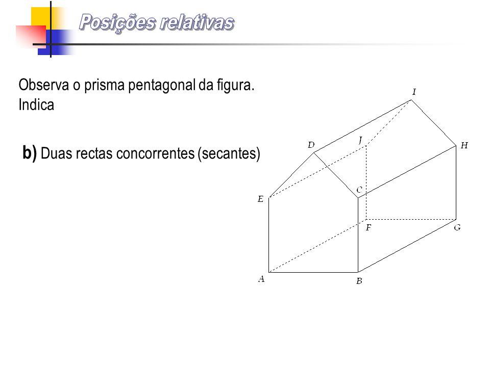Posições relativas b) Duas rectas concorrentes (secantes)