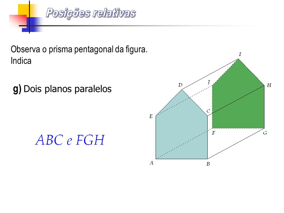Posições relativas g) Dois planos paralelos