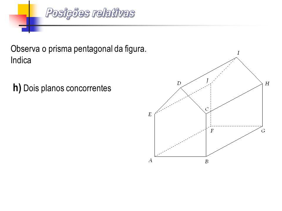 Posições relativas h) Dois planos concorrentes