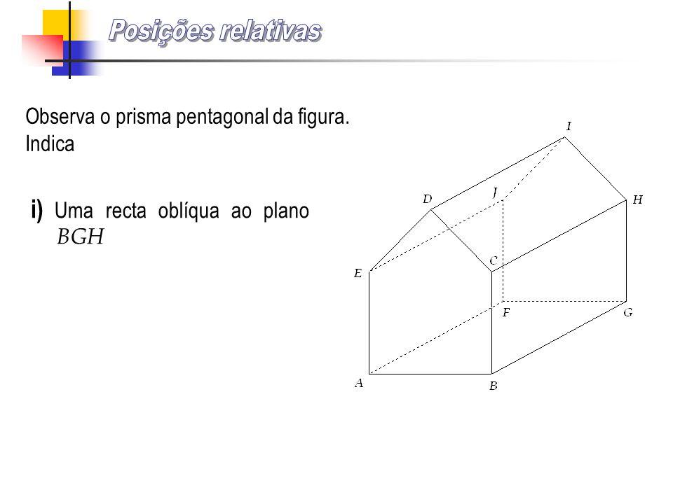 Posições relativas i) Uma recta oblíqua ao plano BGH