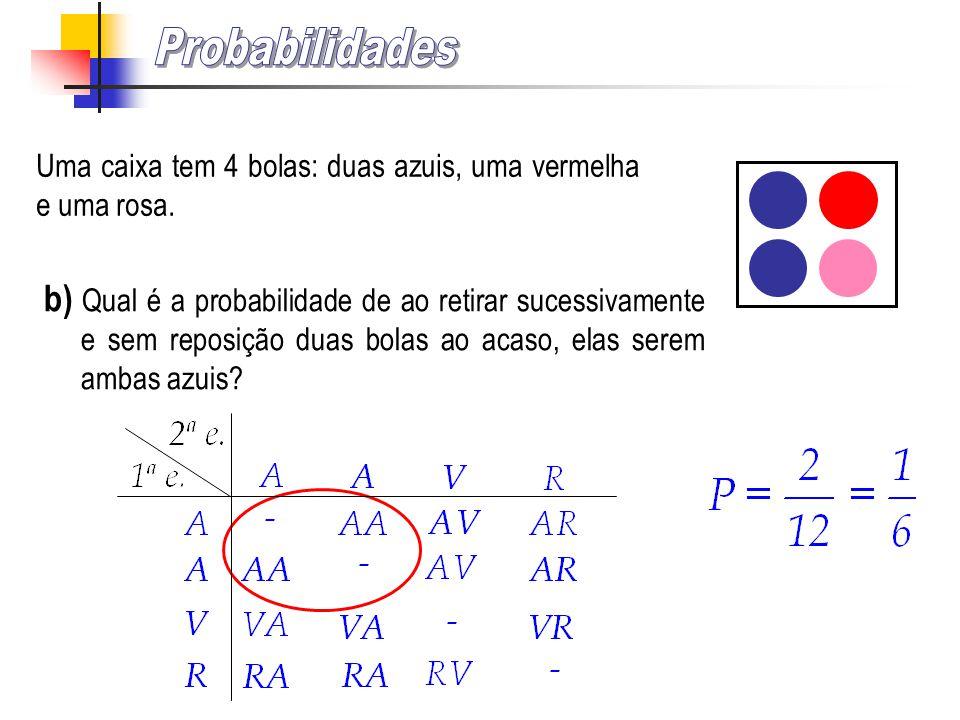 Probabilidades Uma caixa tem 4 bolas: duas azuis, uma vermelha e uma rosa.
