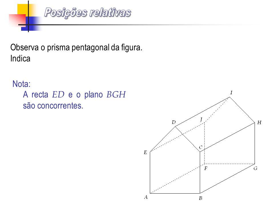 Posições relativas Observa o prisma pentagonal da figura. Indica Nota: