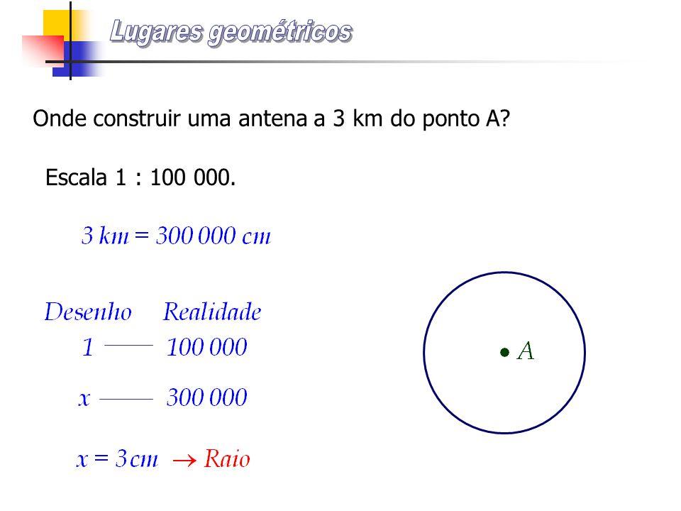 Onde construir uma antena a 3 km do ponto A