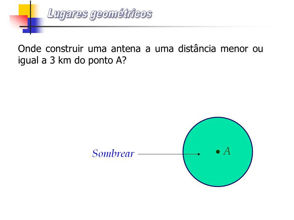 Lugares geométricos Onde construir uma antena a uma distância menor ou igual a 3 km do ponto A