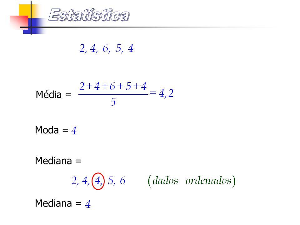 Estatística Média = Moda = Mediana = Mediana =