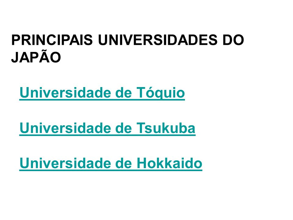 PRINCIPAIS UNIVERSIDADES DO JAPÃO