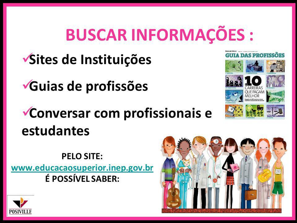 PELO SITE: www.educacaosuperior.inep.gov.br É POSSÍVEL SABER: