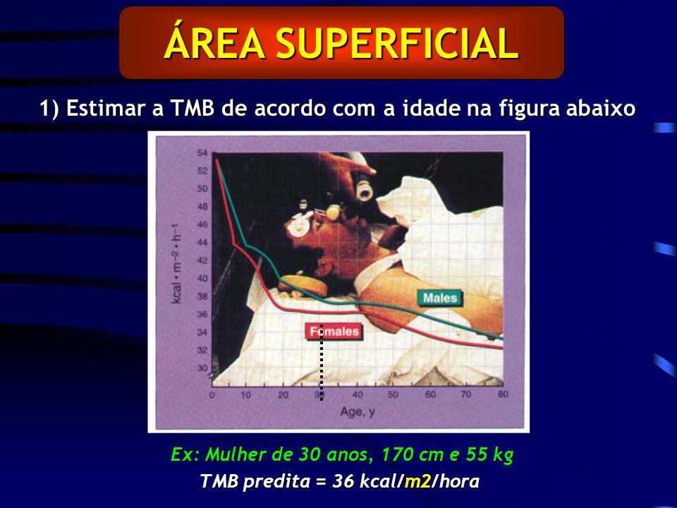 Ex: Mulher de 30 anos, 170 cm e 55 kg TMB predita = 36 kcal/m2/hora