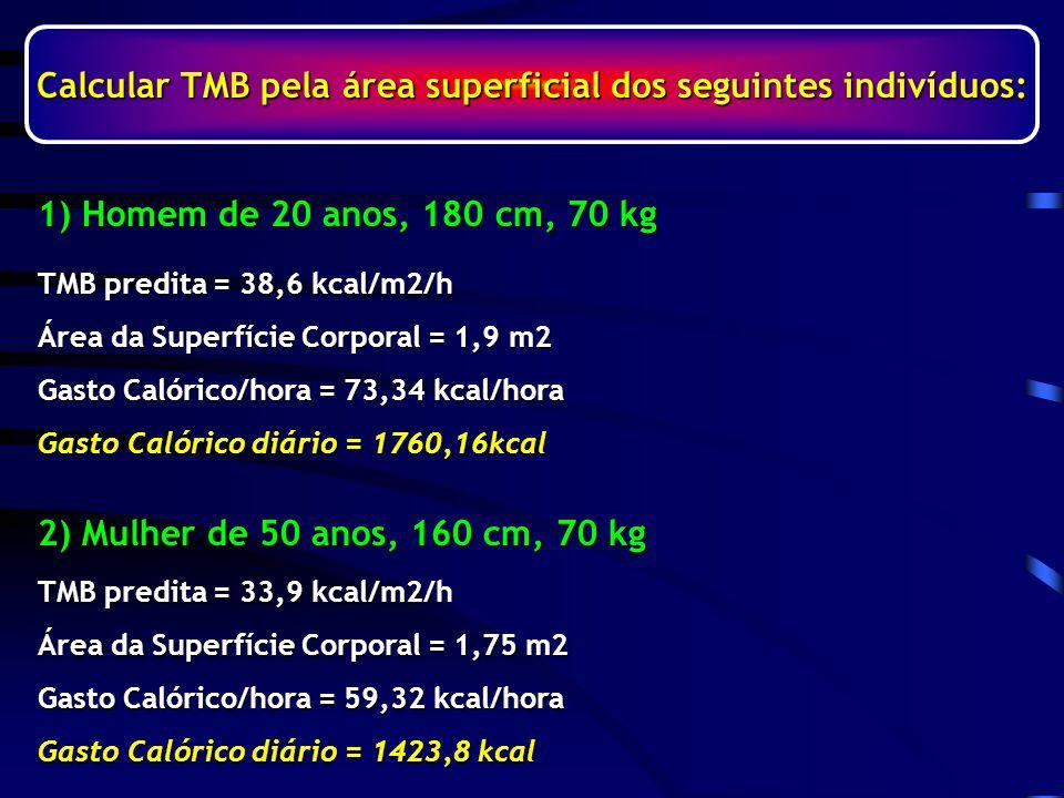 Calcular TMB pela área superficial dos seguintes indivíduos: