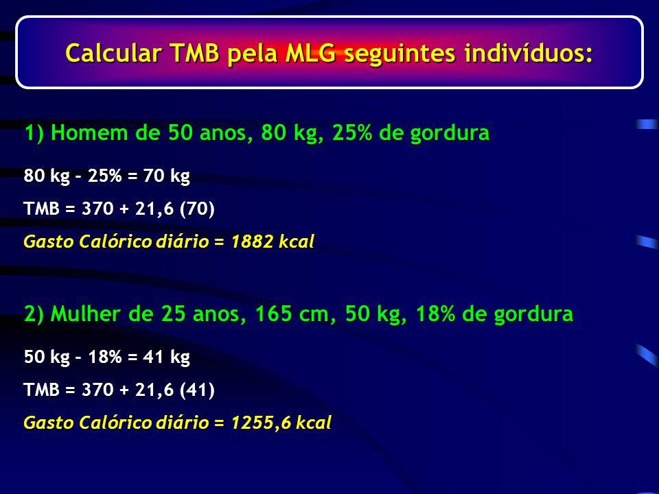 Calcular TMB pela MLG seguintes indivíduos:
