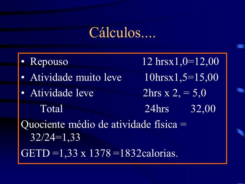 Cálculos.... Repouso 12 hrsx1,0=12,00