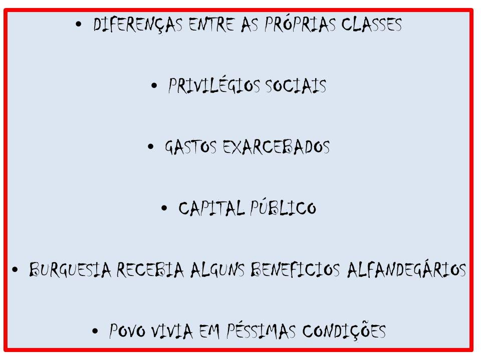 DIFERENÇAS ENTRE AS PRÓPRIAS CLASSES PRIVILÉGIOS SOCIAIS