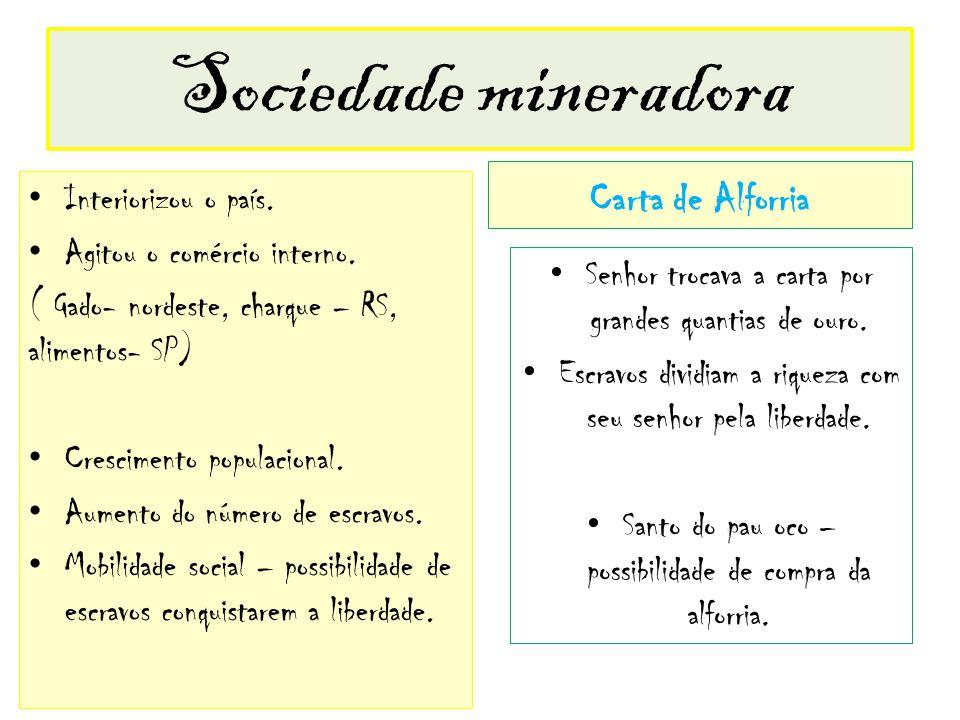 Sociedade mineradora Carta de Alforria Interiorizou o país.