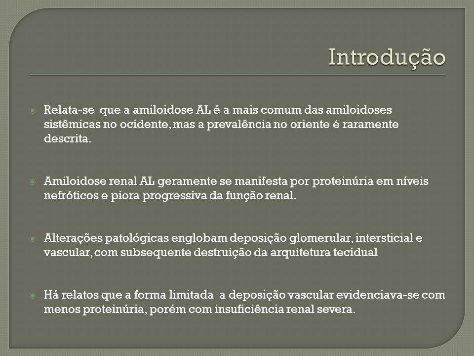 Introdução Relata-se que a amiloidose AL é a mais comum das amiloidoses sistêmicas no ocidente, mas a prevalência no oriente é raramente descrita.