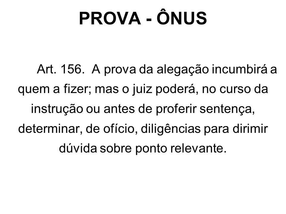 PROVA - ÔNUS