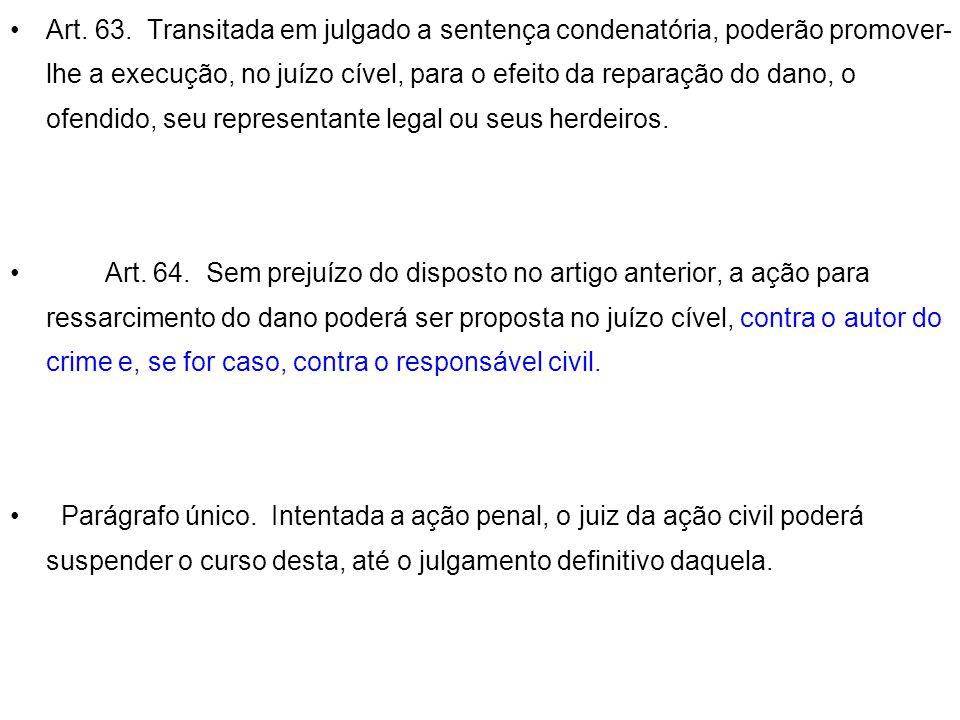 Art. 63. Transitada em julgado a sentença condenatória, poderão promover-lhe a execução, no juízo cível, para o efeito da reparação do dano, o ofendido, seu representante legal ou seus herdeiros.