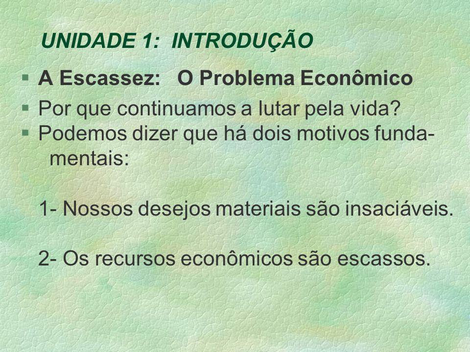 UNIDADE 1: INTRODUÇÃO A Escassez: O Problema Econômico. Por que continuamos a lutar pela vida Podemos dizer que há dois motivos funda-