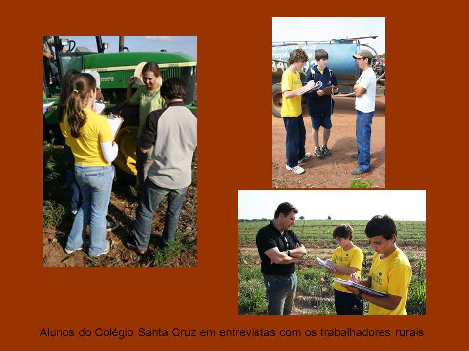 Alunos do Colégio Santa Cruz em entrevistas com os trabalhadores rurais