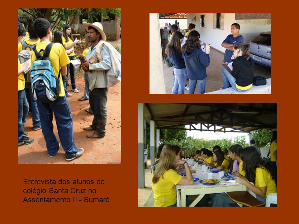 Entrevista dos alunos do colégio Santa Cruz no Assentamento II - Sumaré