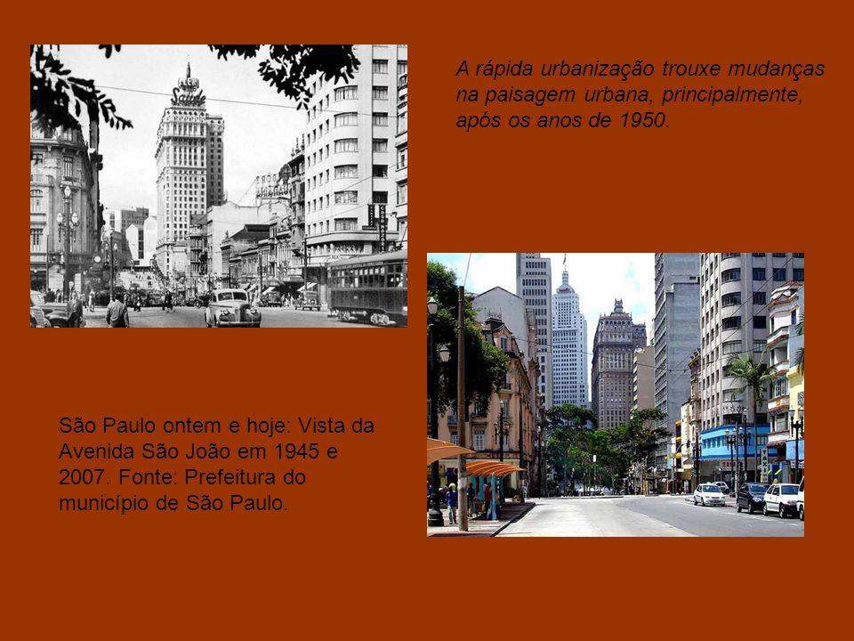 A rápida urbanização trouxe mudanças na paisagem urbana, principalmente, após os anos de 1950.
