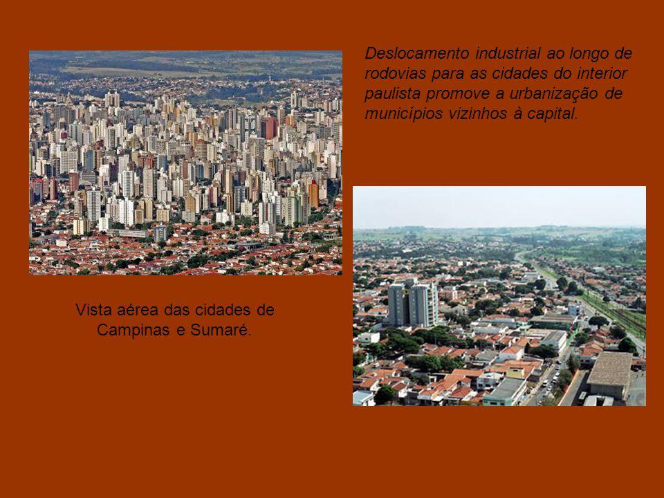 Vista aérea das cidades de Campinas e Sumaré.