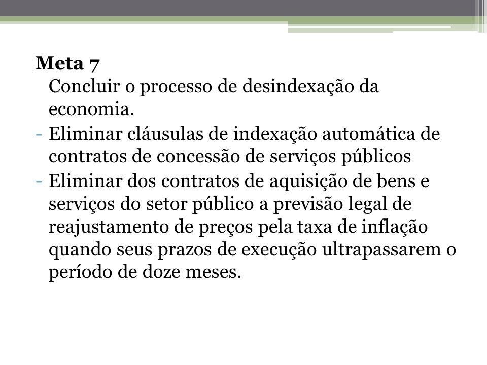 Meta 7 Concluir o processo de desindexação da economia.