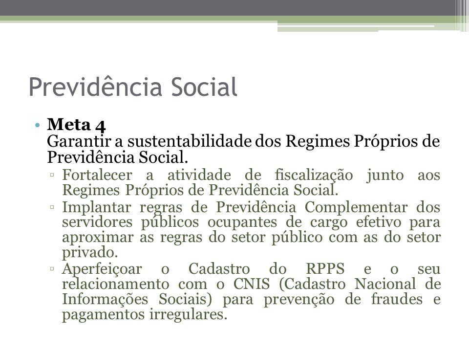 Previdência Social Meta 4 Garantir a sustentabilidade dos Regimes Próprios de Previdência Social.
