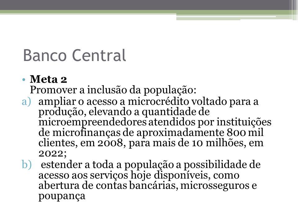 Banco Central Meta 2 Promover a inclusão da população: